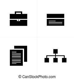 business  flat icons black color