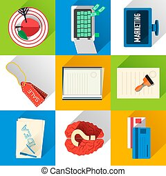 Business flat icons for infographic. Vector Illustration design