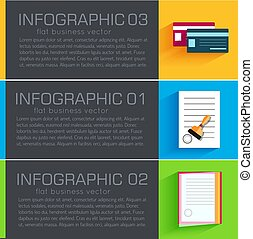 Business flat infographic template banners with text fields. Vector Illustration