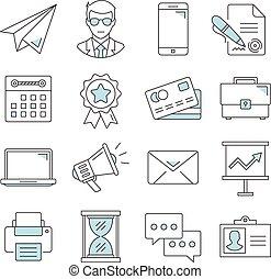 Business flat line icons set
