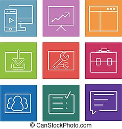 Business flat line icons set. Web and mobile interface design elements. Vector Illustration.