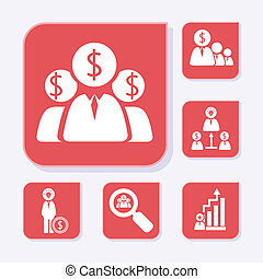 Business flat red icons
