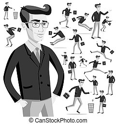 business flat web infographic vector grey men people - Stem ...