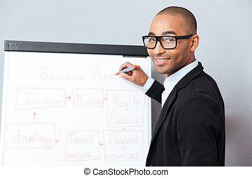 business, flipchart, plan, confection, présentation, homme