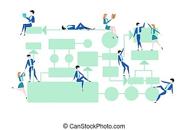 Business flowchart, process management diagram with businessmans and businesswomans characters. Vector illustration on white background.