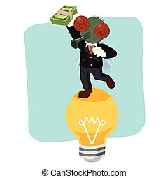 business fly on bulb holding money