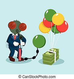 business fly pumping air balloon to a bundle of money