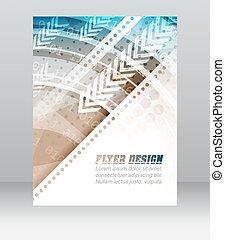 Business flyer template, brochure or corporate banner with abstract technology pattern