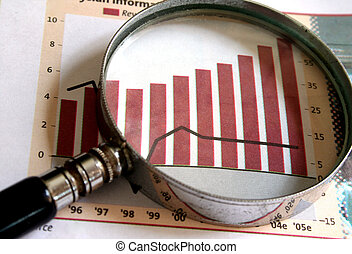 Business Focus - A magnifying glass focusing on a chart in ...