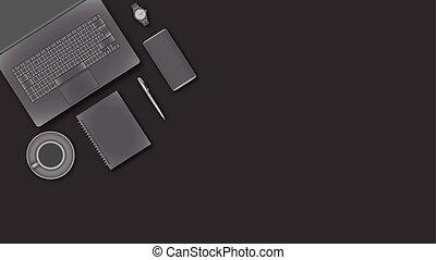 business, fonctionnement, au-dessus, bureau, devices., vue