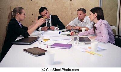 business, fonctionnement, bureau., projet, équipe, nouveau