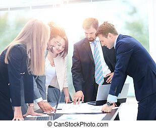 Business, fonctionnement, gens, réunion, ensemble, discuter