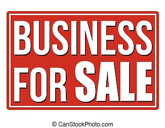 Business for sale red sign on white background, vector illustration