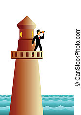 Businessman standing on a lighthouse