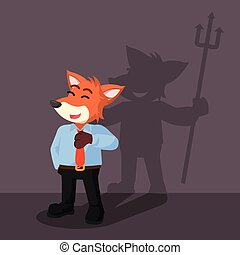 business fox devil shadow