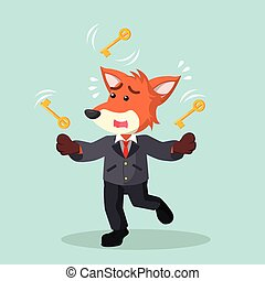 business fox juggling with key