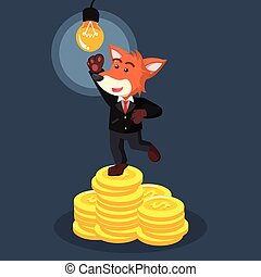 business fox on coin stack