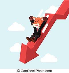 business fox slide down graphic