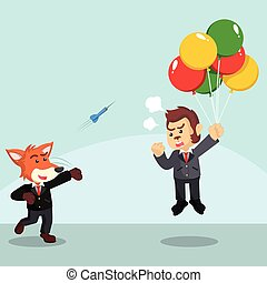 business fox throwing darts to flying business monkey