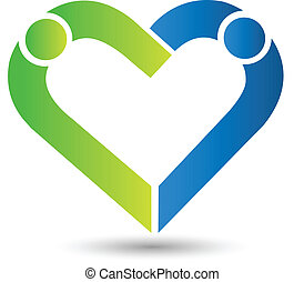 Business friends heart shape logo