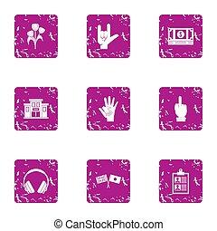 Business friendship icons set, grunge style