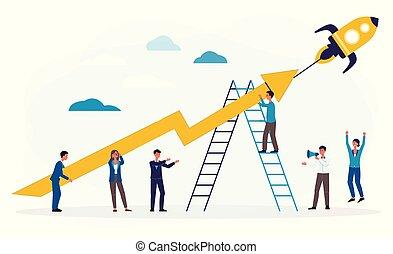 business, fusée, démarrage, ou, plat, illustration, vecteur, poussée, isolated., gens