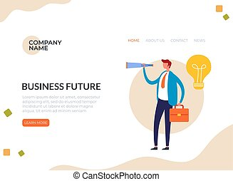 Business future success concept. Vector flat graphic design cartoon illustration