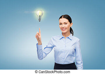 woman working with imaginary virtual screen - business, ...