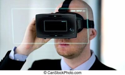 businessman with vr headset and virtual projection