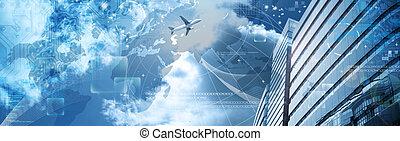 Business futuristic skyscraper banner with programm cod