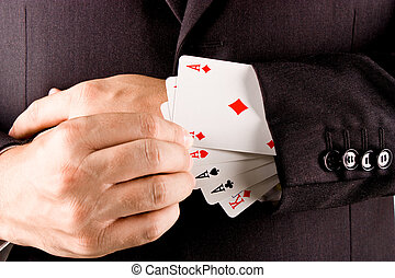 Business gambler - Business man with card and he has an ace...