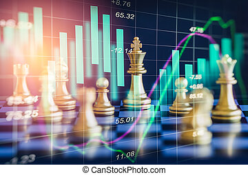 Business game on digital stock market financial and chess...