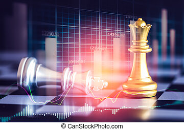 Business game on digital stock market financial and chess background. Digital business and stock market financial on LED. Double exposure chess business strategy and digital stock market financial.
