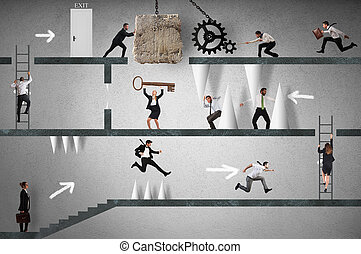 Business game - Business people trying to make an obstacle...