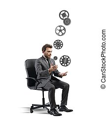 Business game - Concept of business game with juggler...