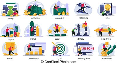 Business Gamification Recolor Icons Set