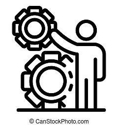Business gear system icon, outline style