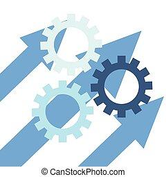 business gears arrows work team