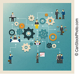 Vector business gears infographics with people and icons