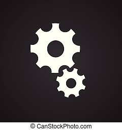 Business gears on black background for app or web using