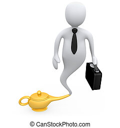 Business Genie - Genie businessman coming out of a lamp .
