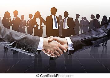 Business, gens, association, confirmer, leur, mains, secousse