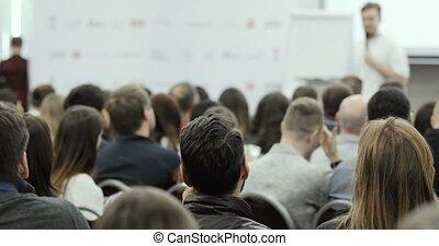 business, gens., audience, commencer, orateur, parler, homme, forum, grand