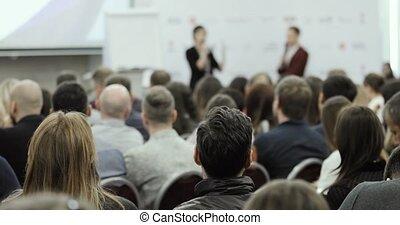 business, gens., audience, conversation, interlocuteurs, homme, forum, femme, grand