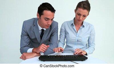 business, gens fonctionnement, ensemble, informatique, sourire