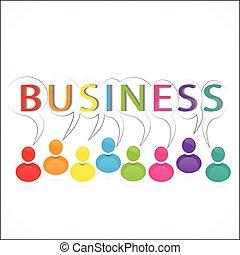 business, gens fonctionnement, ensemble, logo, icône