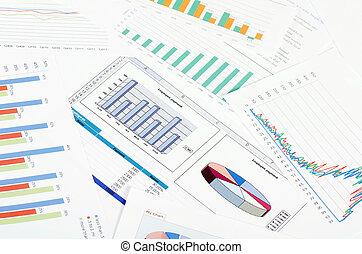 business, gens., graphiques, lieu travail, table., diagrammes