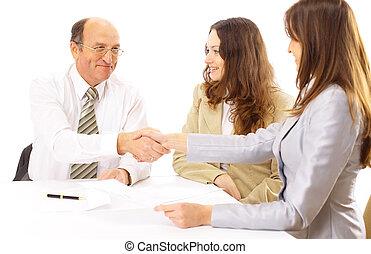 Business, gens, mains, secousse, haut, finir, réunion