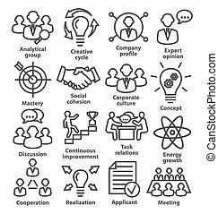 business, gestion, 14., ligne, style., meute, icônes