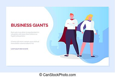 Business Giants Man and Woman Super Heroes Website